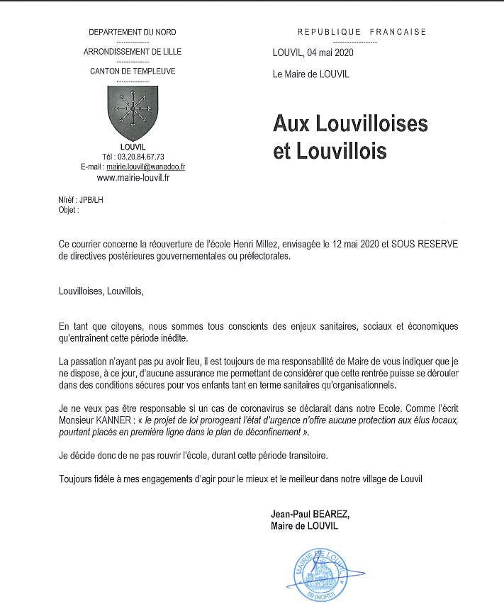 Courrier Monsieur le Maire du 5 mai 2020